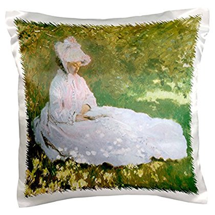 3dRose The Reader by Claude Monet, 1872 Victorian Woman Reading a Book, Pillow Case, 16 by (Woman Reading Monet)