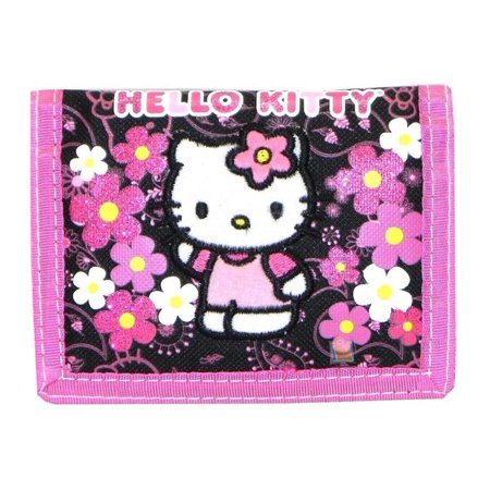 Trifold Wallet - Hello Kitty - Flowers Black New Gift Toys Licensed - Hello Kitty Folding