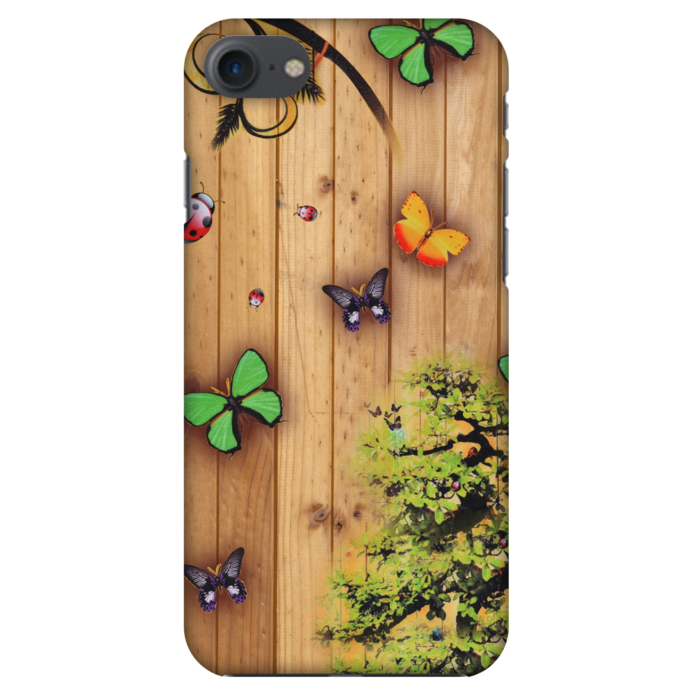 iPhone 8 Case - Bonsai Butterfly, Hard Plastic Back Cover. Slim Profile Cute Printed Designer Snap on Case with Screen Cleaning Kit