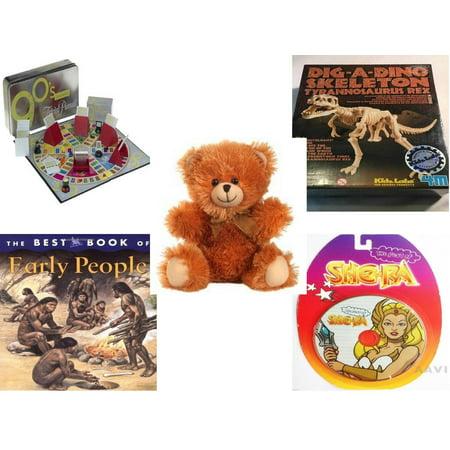 Children's Gift Bundle [5 Piece] -  Trivial Pursuit 1990's Edition  - T-Rex Dinosaur Excavation Kit  - Fuzzy Friends Teddy Bears  Soft 10