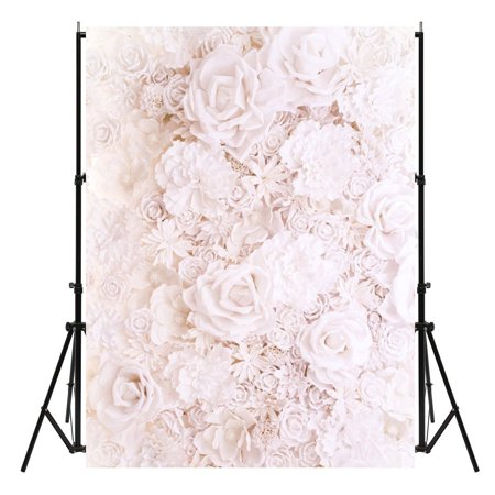 Rose Photography Backdrop (White Rose Flowers Baby Vinyl Photography Background Backdrop Photo Studio Props)