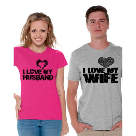 Awkward Styles Couple Shirts I Love My Husband Shirt I Love My Wife T Shirts for Couples Husband and Wife Matching Couple Shirts Valentines Day Outfit Anniversary Gift for Husband Cute Gift for Wife - Homecoming Couples Outfits