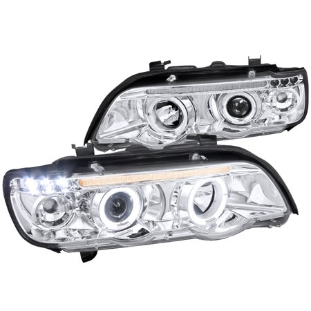 Spec-D Tuning 2001-2003 Bmw X5 Dual Halo Led Projector Headlights Head Lamps 2001 2002 2003 (Left + Right) ()