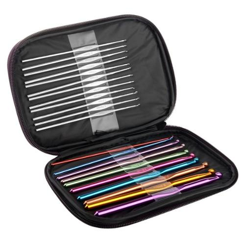 Zodaca Aluminum Crochet Hooks Yarn Knitting Needles Set Kit with Leather Case - Multicolor (Pack of 22 Pcs)