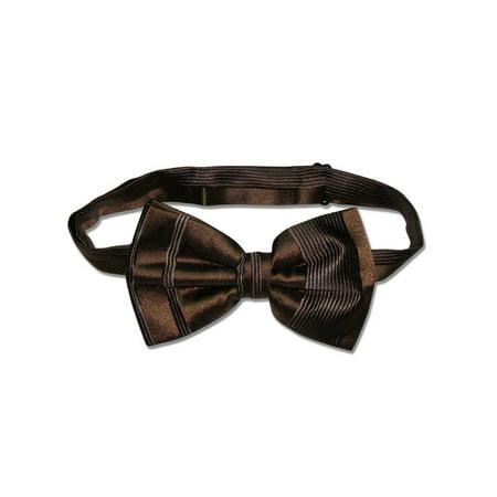 Vesuvio Napoli BOWTIE Dark Brown Woven Striped Design Men's Bow Tie for Suit Tux (Contemporary Design Bow)