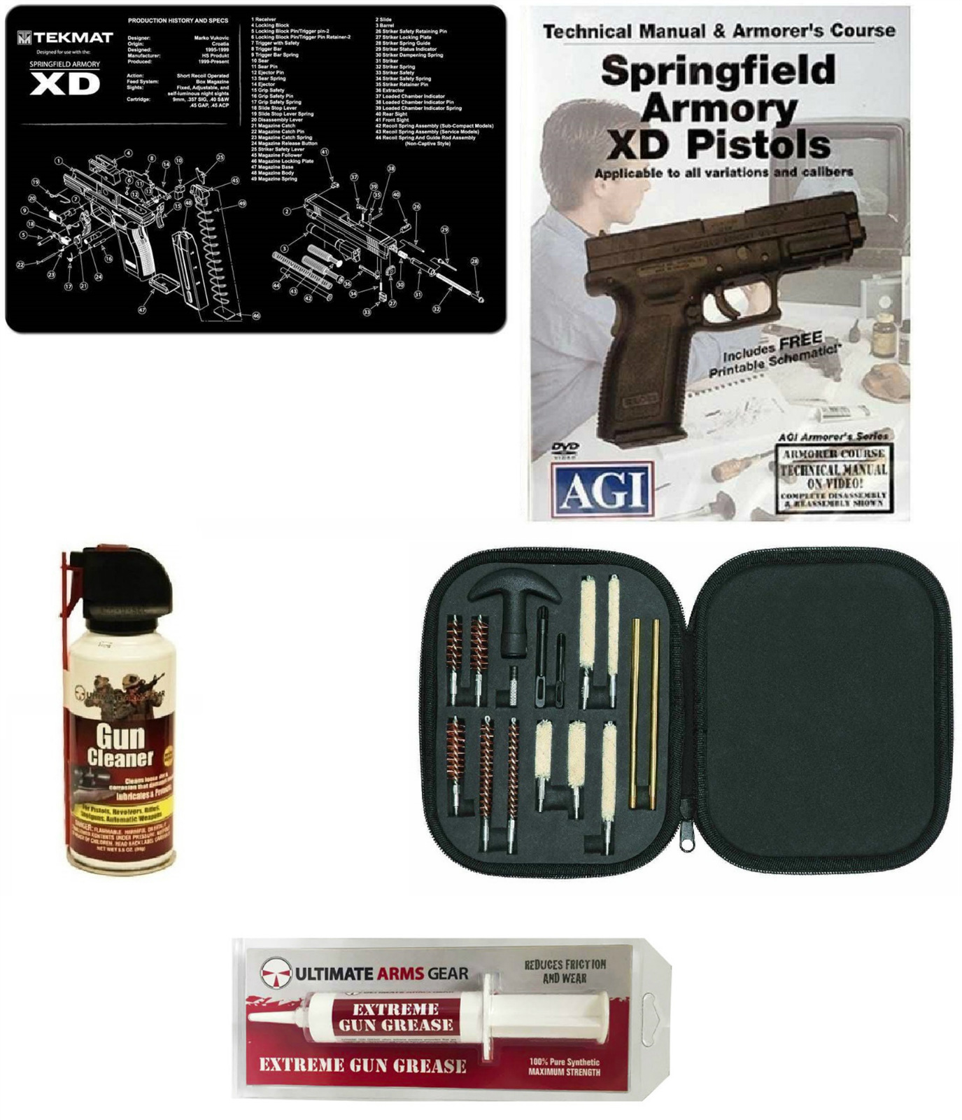 Gunsmith Cleaning Gun Mat Springfield Armory XD + Pro Cleaning Supplies Kit 17 pc Cleaning Kit Brushes, Swab, Slotted... by