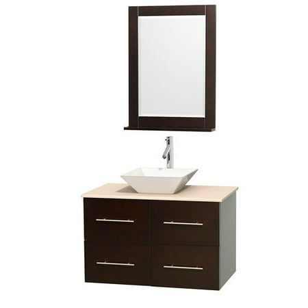 "Wyndham Collection Centra 36"" Single Bathroom Vanity in Espresso, White Man-Made Stone Countertop, Pyra Bone Porcelain Sink and 24"" Mirror"