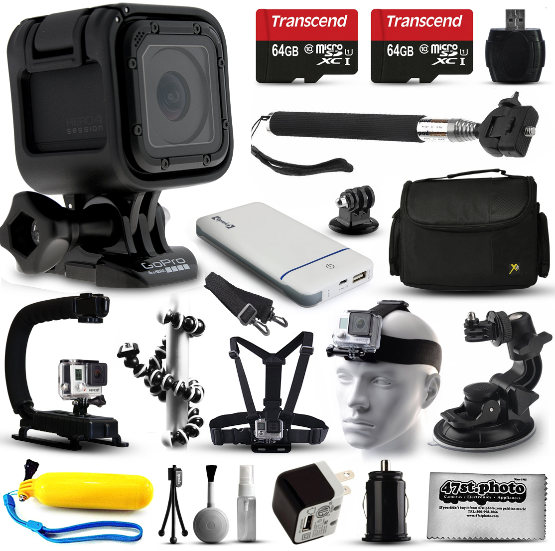 GoPro HERO4 Session HD Action Camera (CHDHS-101) + Ultimate 20 Piece Accessories Package with 128GB Memory + Travel Case + USB Portable Charger + Head\/Chest Strap + Opteka X-Grip + Car Mount & More!
