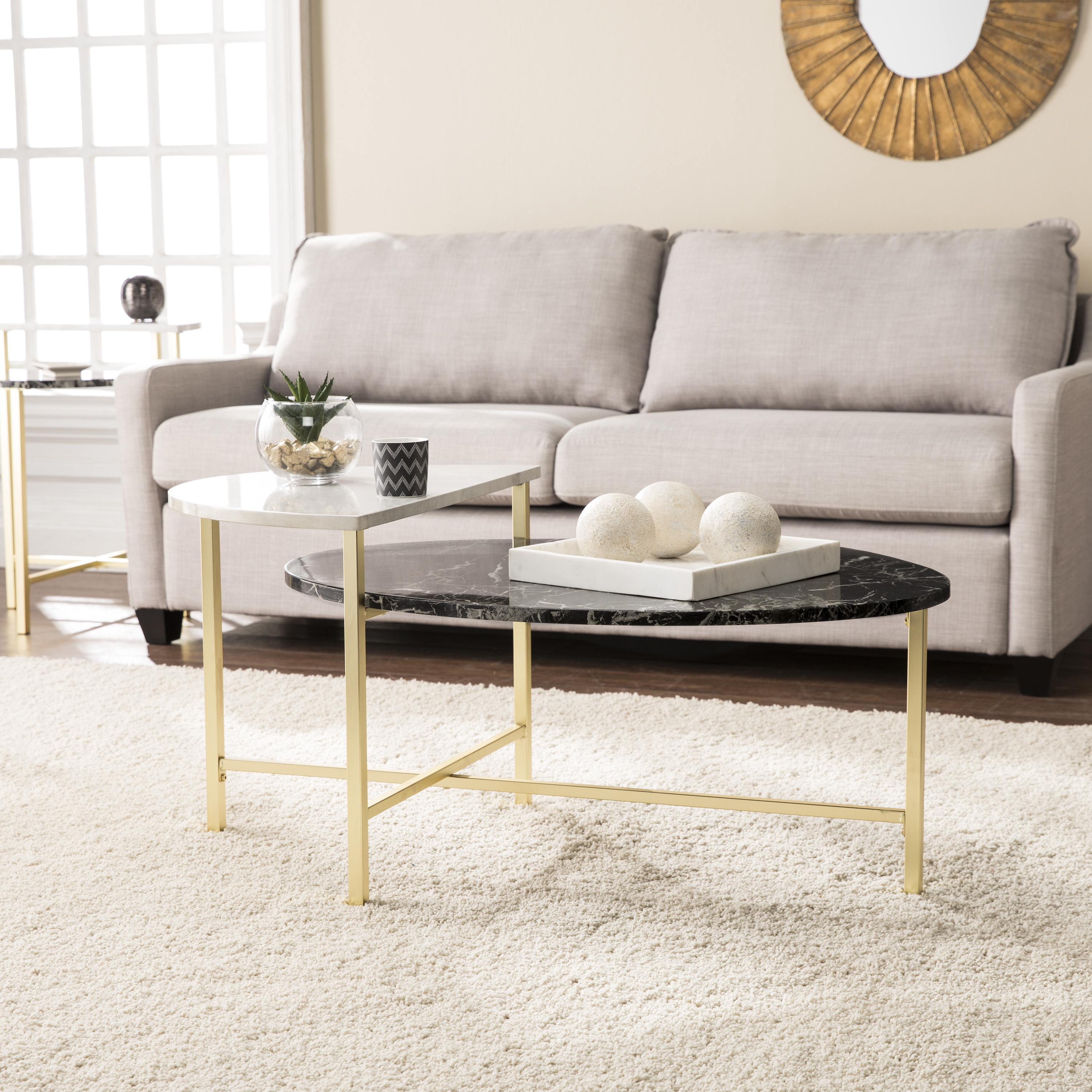 Holly & Martin Bickly 2-Level Cocktail Table, Eclectic Style, Brushed Gold