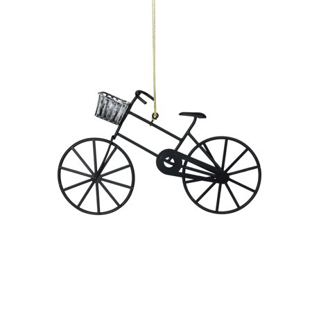 "6.25"" Black and Silver Vintage Style Bicycle Christmas Ornament"