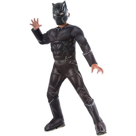 Marvel's Captain America Civil War Black Panther Deluxe Muscle Chest Child Halloween Costume - Long Black Hair Costume