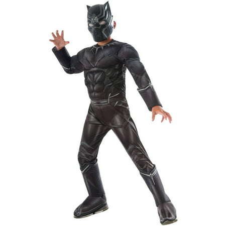 Marvel's Captain America Civil War Black Panther Deluxe Muscle Chest Child Halloween Costume - Black Ninja Boy Fighter Child Halloween Costume