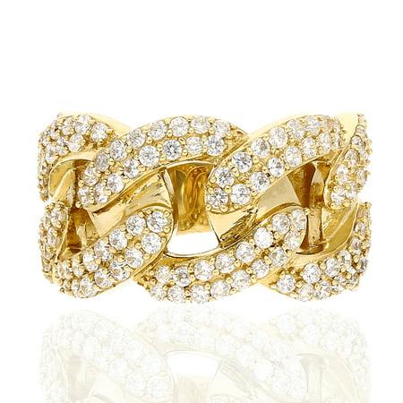 14k Yellow Gold Created Diamond Cuban Link Style Men's Ring -