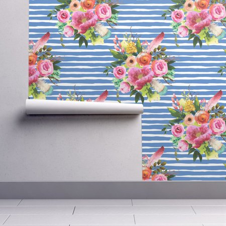 Peel And Stick Removable Wallpaper Boho Boho Stripes Roses Floral Feathers Pink