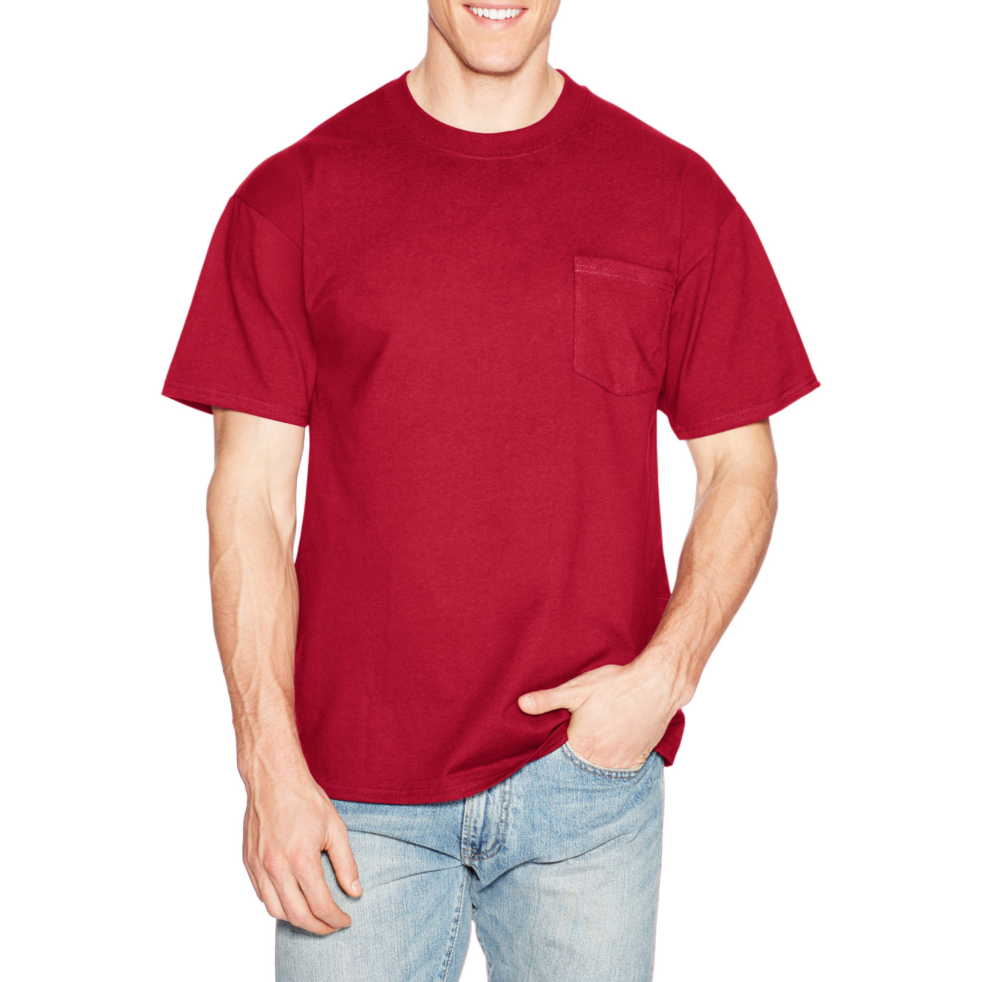 Hanes Mens Premium Beefy-T Cotton Short Sleeve T-Shirt with Pocket