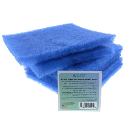 Replacement Filters For Bettervent Indoor Dryer Vent (6 PACK ) By Essential (Best Way To Vent A Dryer Indoors)