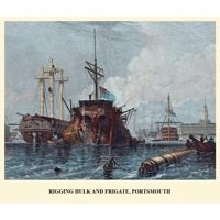 Rigging Hulk and Frigate Portsmouth Poster Print by EW Cooke