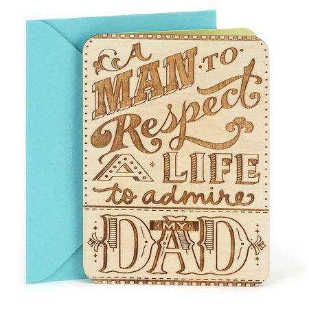 Hallmark Birthday Greeting Card for Dad (Wooden Etched Message) - Message For Graduation