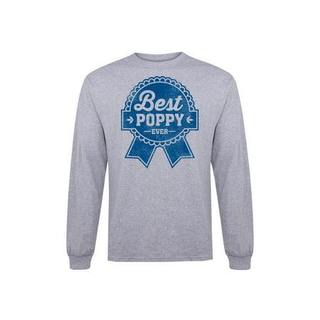 Beer Label Best Poppy Ever  Grandpa Shirt Gift - Adult Long Sleeve