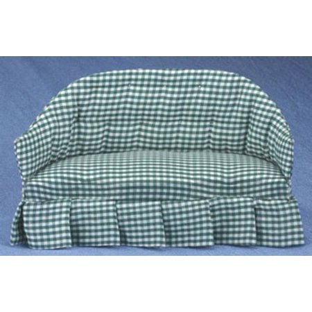 Dollhouse Green Checkered Sofa