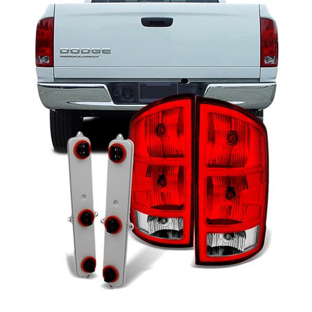 Fit 02-06 Dodge Ram Pickup Red Clear Taillights Replacement  With Circuit -