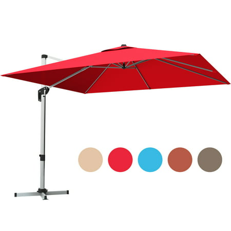 Gymax 10 Ft Square Offset Hanging Patio Umbrella 360 Degree Tilt Brick Red - image 10 of 10