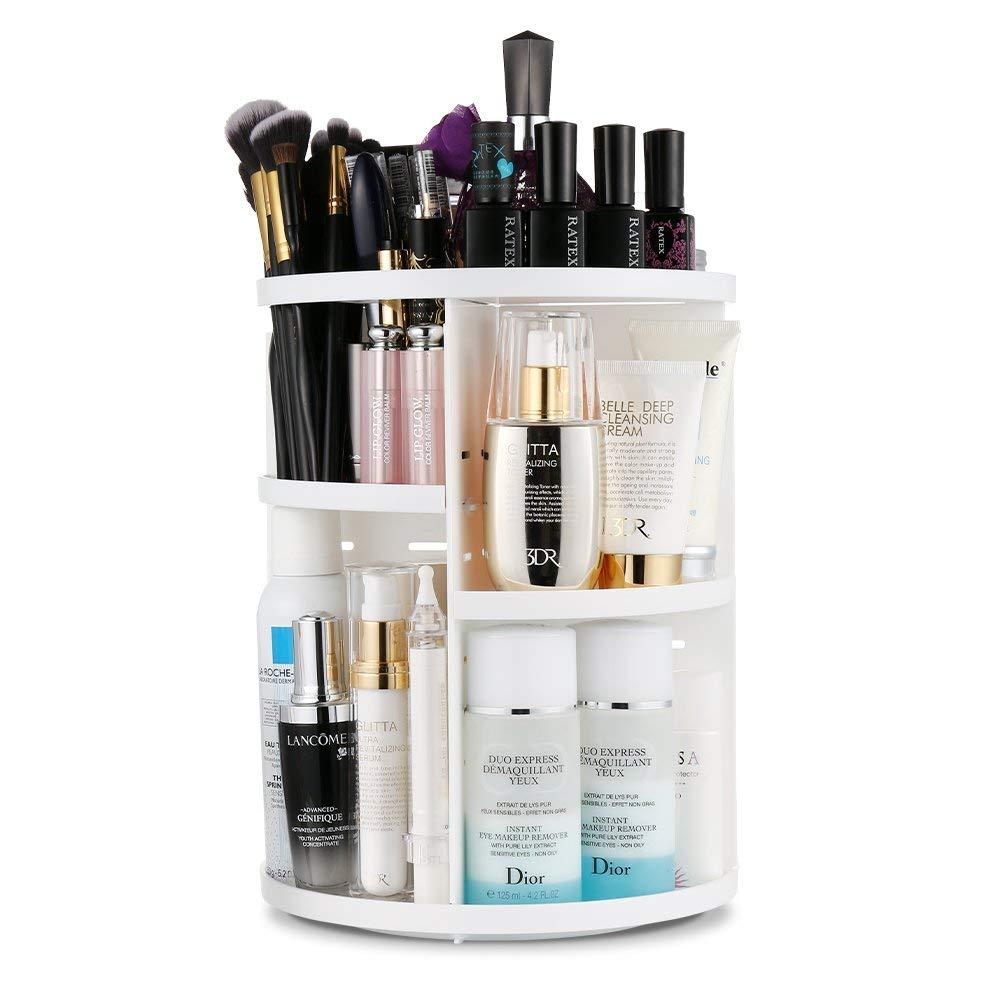 Amerteer 360 Degree Makeup Organizers and Cosmetic Storage Holder for Bathroom Vanity Countertop 360 Rotating Adjustable Detachable Make Up Accessries Display Shelf-Black