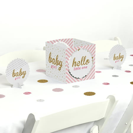 Hello Little One - Pink and Gold - Girl Baby Shower Party Centerpiece & Table Decoration Kit