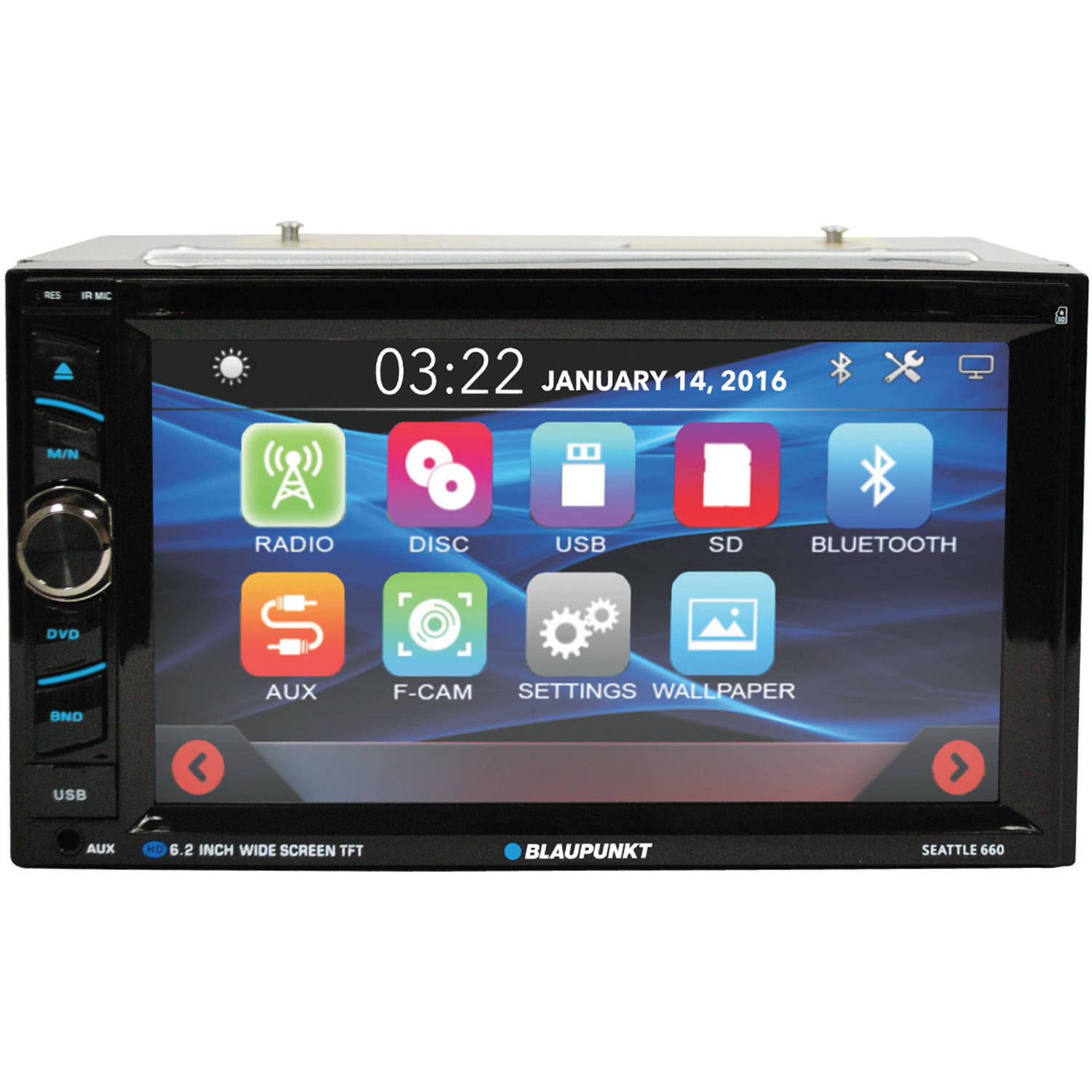 """6.2"""" Double-DIN In Dash Touch Screen Receiver with Bluetooth"""