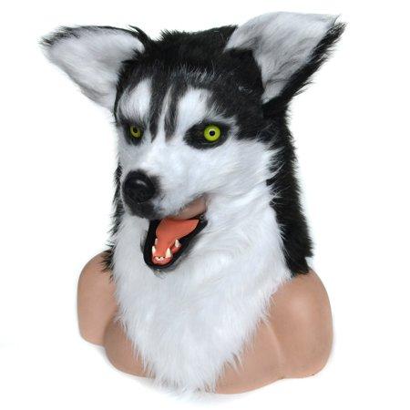 HomCom Husky Dog Halloween Cosplay Mask Realistic Costume Mouth Mover - Most Realistic Masks Halloween