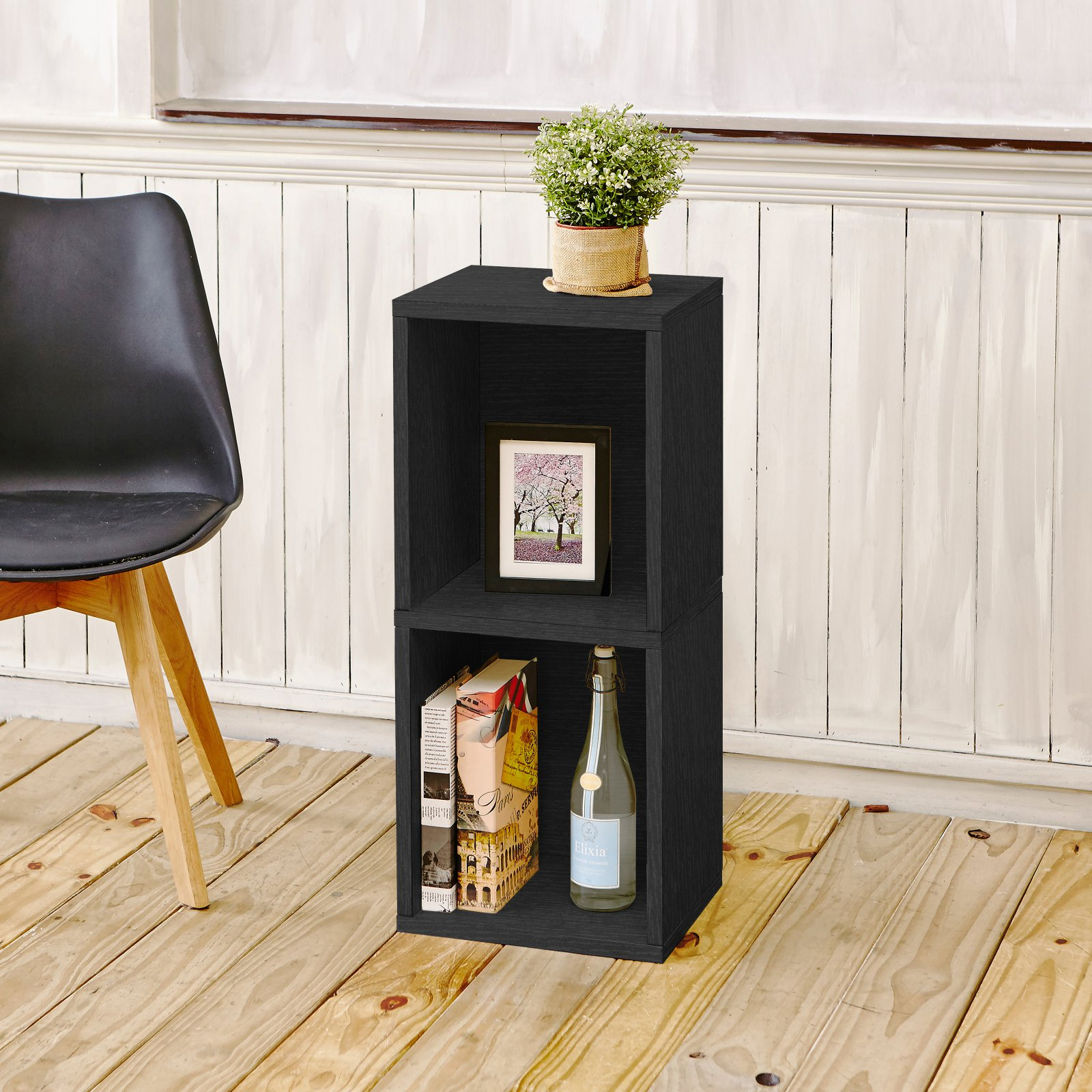 Way Basics Eco 2 Shelf Double Cube Plus Narrow Bookcase and Storage Shelf, Black