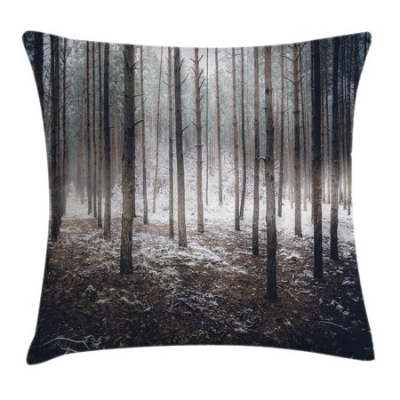 Winter Decorations Throw Pillow Cushion Cover, Scene of Dark Spooky Misty Forest Veiled with Fog Mystic Birches Print, Decorative Square Accent Pillow Case, 16 X 16 Inches, Brown White, by Ambesonne - Spooky Scene