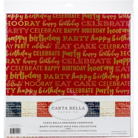 "Carta Bella Collection Kit 12""X12"" 6/Pkg-Happy Birthday W/Gold Foil, 3 Colors - image 1 of 1"