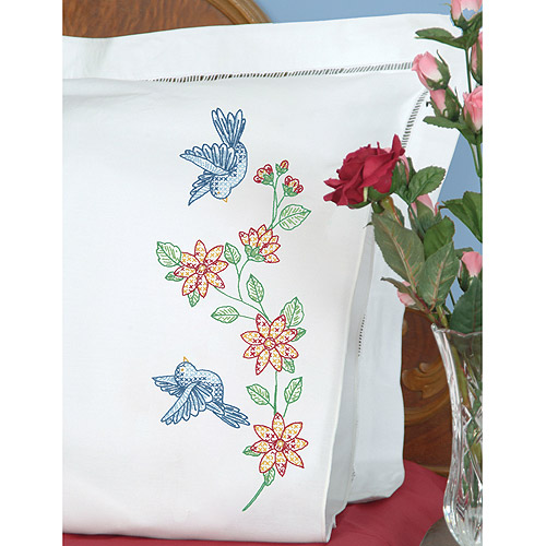 Jack Dempsey Birds Stamped Pillowcases With White Perle Edge