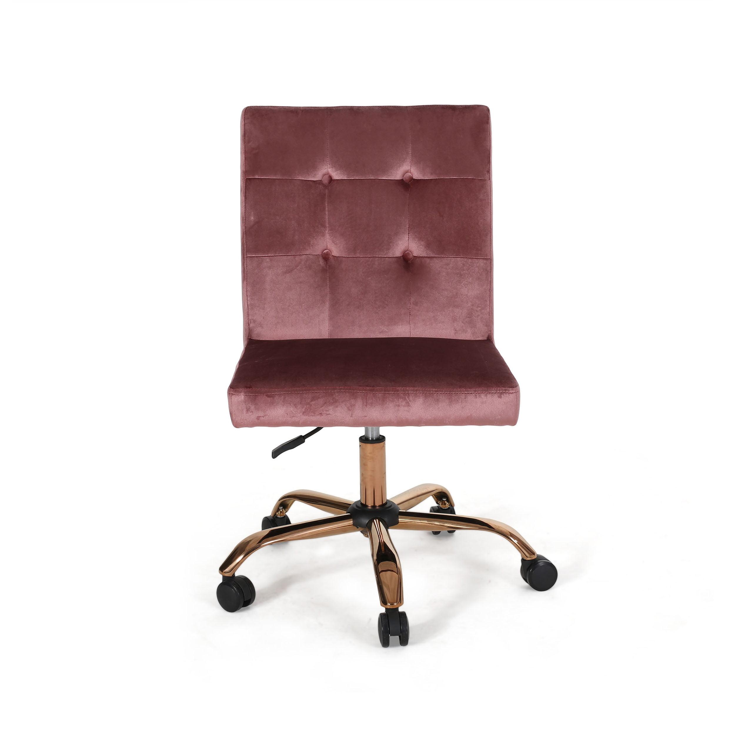 Noble House Yisroel Glam Tufted Home Office Chair With Swivel Base Blush Rose Gold Finish Walmart Com Walmart Com