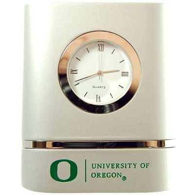 Oregon Ducks Brushed Silver Desk Clock