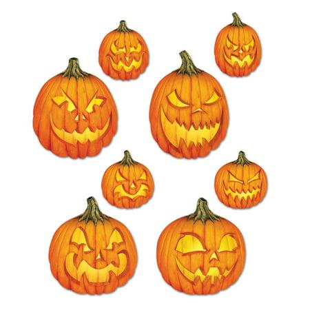 Halloween Scary Jack-O-Lantern Cutouts 14 Inch (4/Pkg) Pkg/6 - Scary Halloween Cutouts