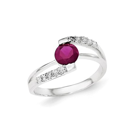 925 Sterling Silver Red Cubic Zirconia with cubic Zirconia Accents Ring Size-6