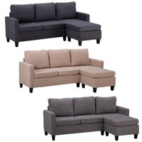 Ktaxon 3 Colors Line Fabric Sectional Double Chaise Longue Combination L-shaped Sofa
