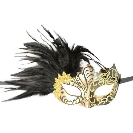 Plastic Royal Venetian Masquerade Mask with Glitter & Feathers, Gold & Black - One Size - image 1 de 1