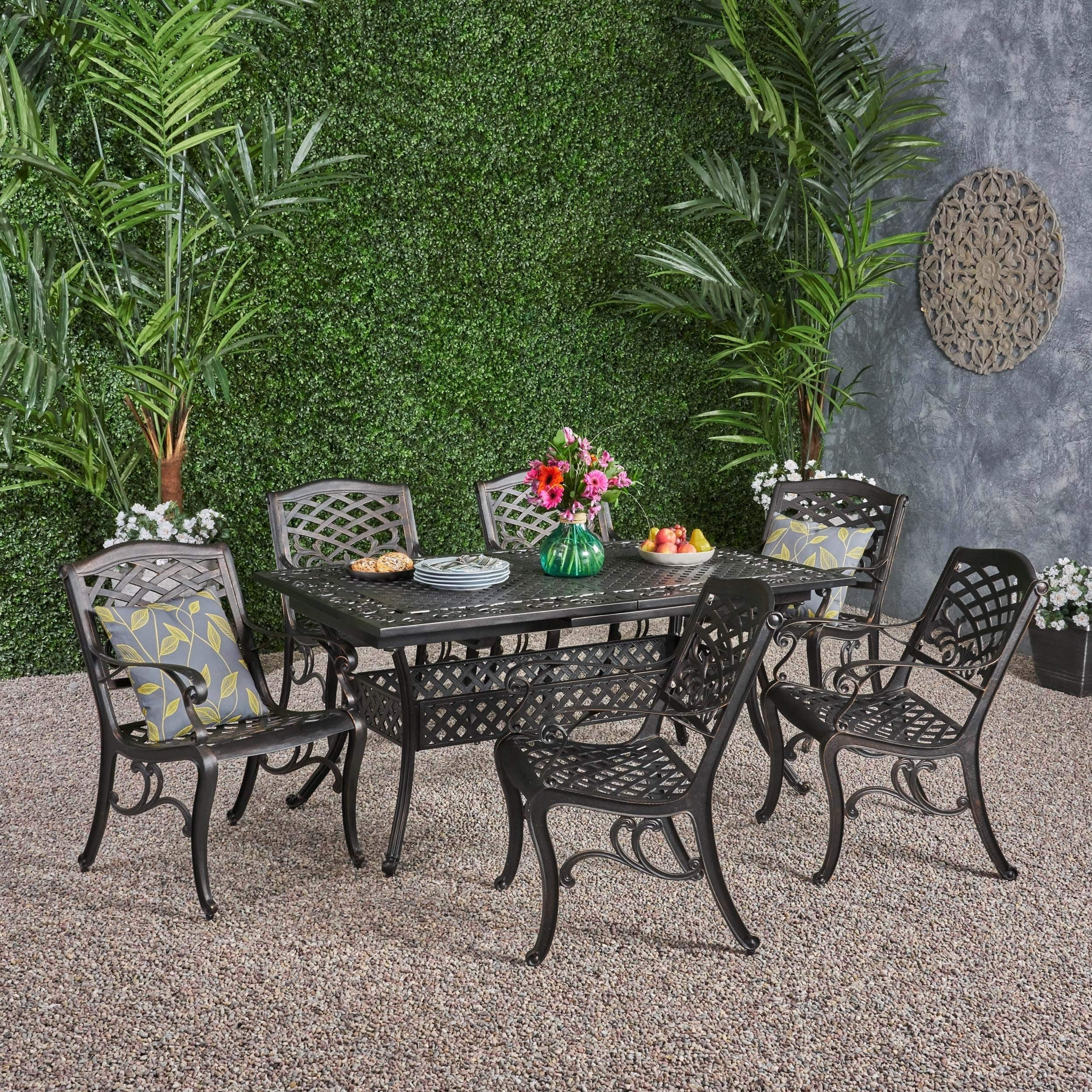 Christopher Knight Home Phoenix Outdoor 6-Seater Cast Aluminum Dining Set with Expandable Table by