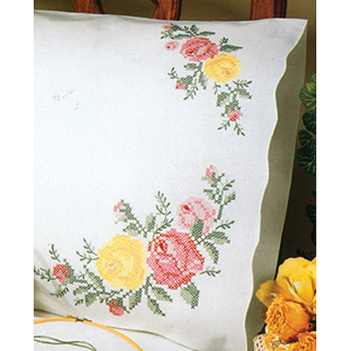 """Tobin Rose Classic Stamped Pillowcase Pair For Embroidery, 20"""" x 30"""""""