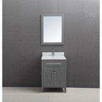 Belvedere Bath 24 inch Belvedere Traditional Freestanding Grey Bathroom Vanity w/ marble top