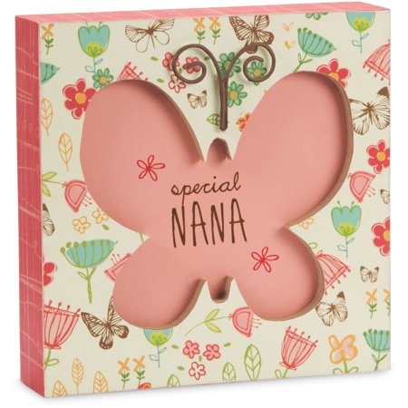 Pavilion - Special Nana Butterfly Floral Mini 4.5x4.5 Inch Wall Decor Plaque - Butterfly Pavilion Coupon