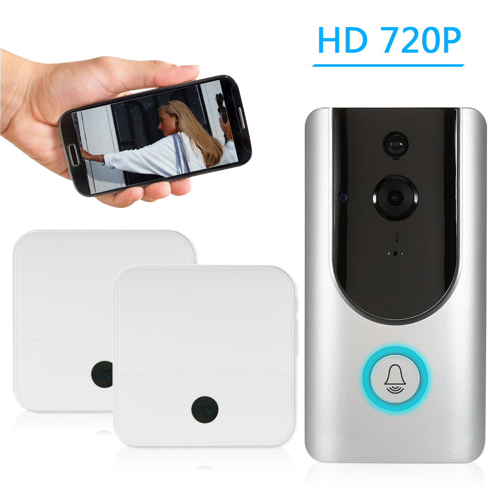 HD 720P WiFi Smart Wireless Security Doorbell Smart Visual Intercom Recording Video Door Phone Night Vision Mobile Cruise Remote Monitoring for Home/Factory +2*Wireless Doorbell Chime
