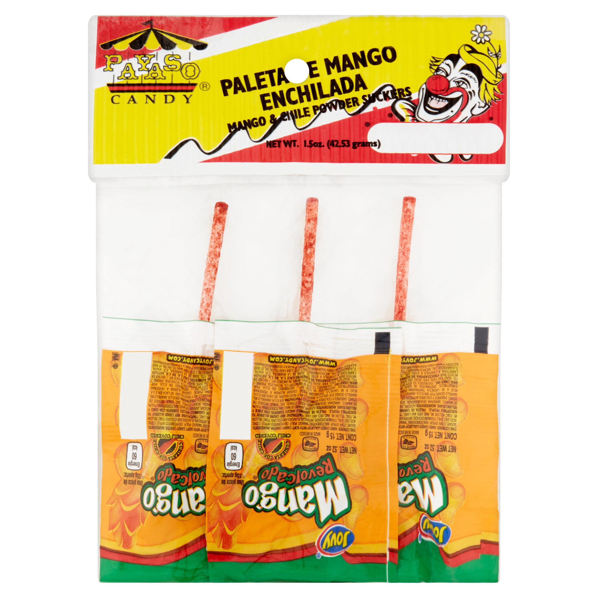 (3 Pack) Payaso Mango & Chile Powder Suckers Candy, 1.5 oz