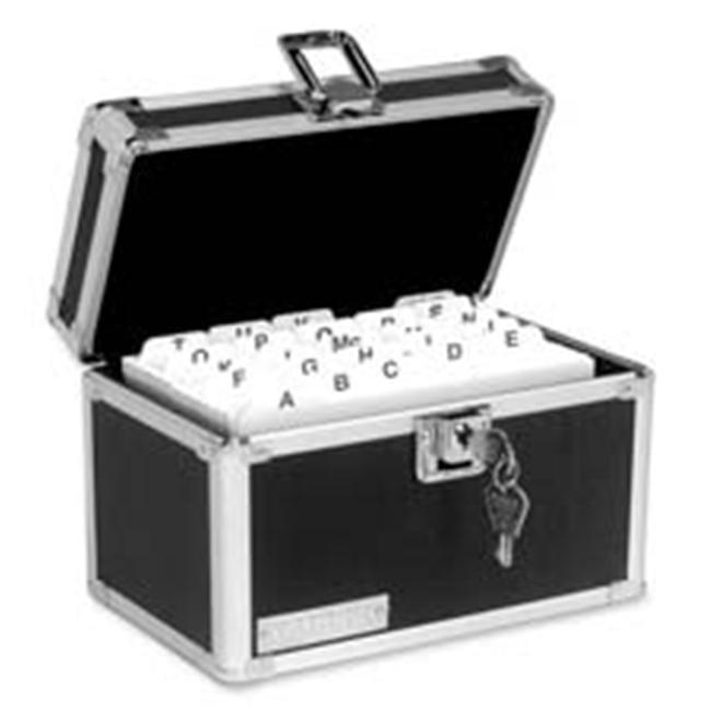 Ideastream Products IDEVZ01169 Locking Card File- 3inchx5inch- 350 Capacity- Aluminum Trim- BK-CE