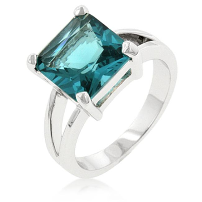 Kate Bissett R07595R-S32-05 Princess Cut Aquamarine Crystal Solitaire Ring in Rhodium White Gold.  Silver Tone. - Size 5