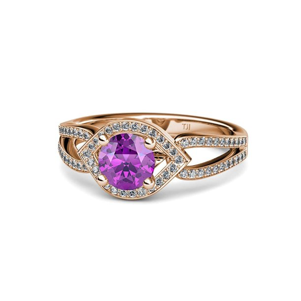 Amethyst and Diamond (SI2-I1, G-H) Eye Halo Engagement Ring 1.43 ct tw in 14K Rose Gold.size 9