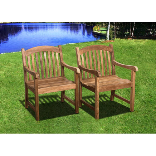 Newham Outdoor Teak Wood Armchair, Brown
